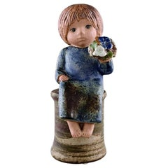 Lisa Larson for Gustavsberg, Girl with Flowers in Glazed Ceramics, 20th Century