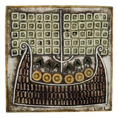 Lisa Larson for Gustavsberg, Glazed Ceramic Wall Plaque Decorated with Vikings