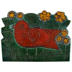 Lisa Larson for Gustavsberg, Large and Rare Wall Decoration, Red Bird