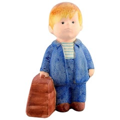Lisa Larson for Gustavsberg, Rare Figure in Glazed Ceramics, Boy with Bag