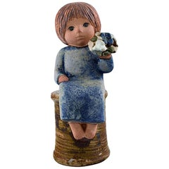 Lisa Larson for Gustavsberg, Rare Stoneware Figure, Girl with Flowers