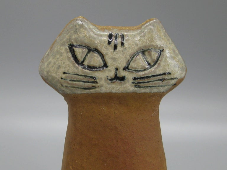 Lisa Larson for Gustavsberg Sweden Art Pottery Modernist Cat Figural Sculpture In Good Condition For Sale In San Diego, CA