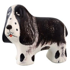 Lisa Larson for K-Studion / Gustavsberg, Basset Hound in Glazed Ceramics