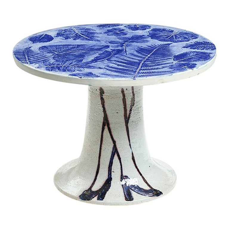 "Lisa Larson Unique Ceramic Table ""Legs & Leaves"", Gustavsberg For Sale"