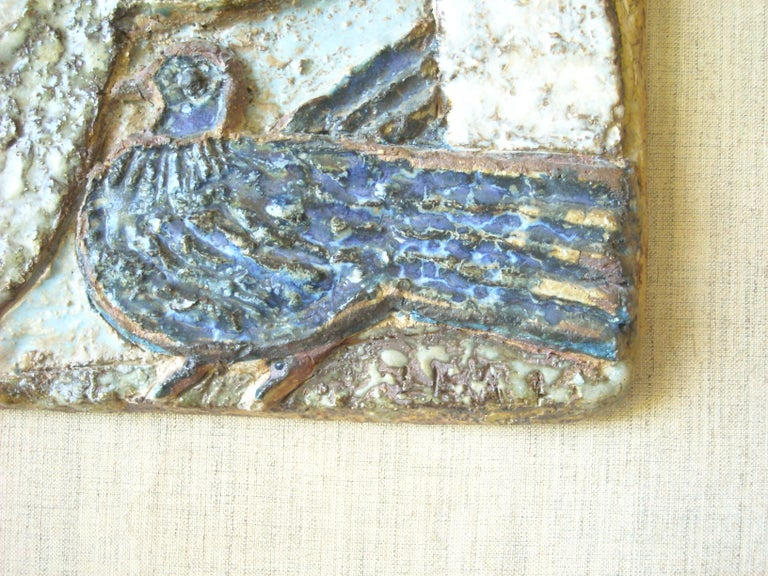 Modern Lisa Larson Very Rare and Early Clay/Pottery/ Stoneware Wall Plaque, Signed LR For Sale