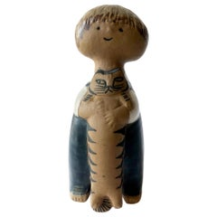 Lisa Larson for Gustavsberg Pelle Child with Cat Figural Sculpture