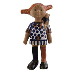 Lisa Larsson, Very Rare Pippi Longstocking Figure, Gustavsberg, 1970s