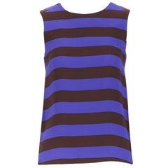 LISA PERRY 100% silk cobalt blue brown striped sleeveless top US0 XS
