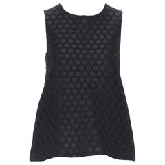 LISA PERRY black texture circle fabric flared A-line sleeveless top US0 XS