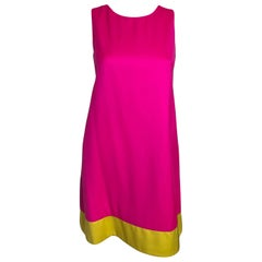 Lisa Perry Fuchsia Pink & Sunflower Yellow Wool Lined Sleeveless A-Line Dress