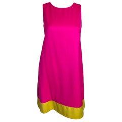 Lisa Perry Fuchsia Pink & Sunflower Yellow Wool Lined Sleeveless A-Line Dress