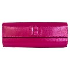 Lisa Perry Mod Fuchsia Pink Patent Leather Clutch Handbag w/ Magnetic Closure