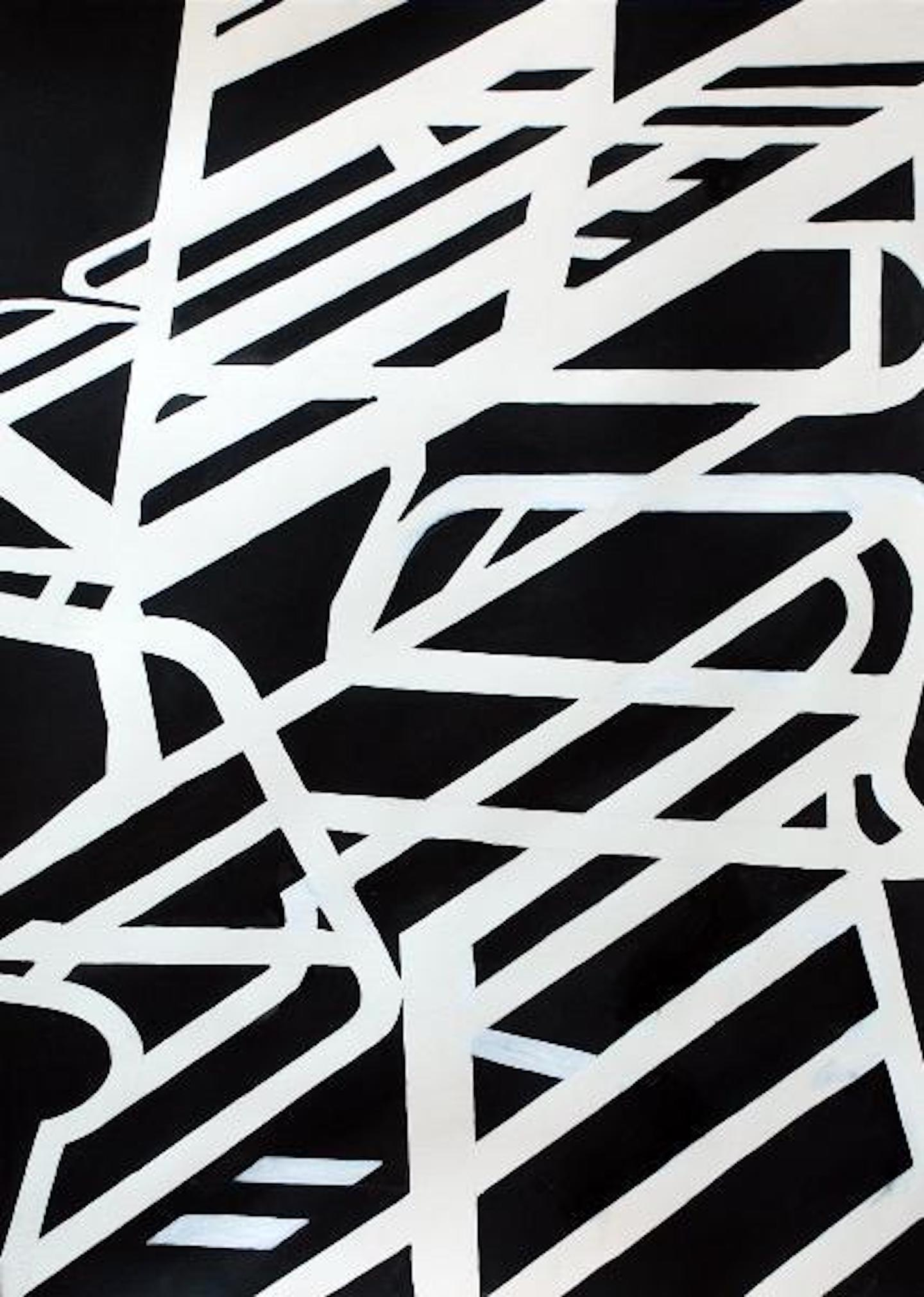 Chair 5, black and white abstract painting on paper by Lisa Petker-Mintz