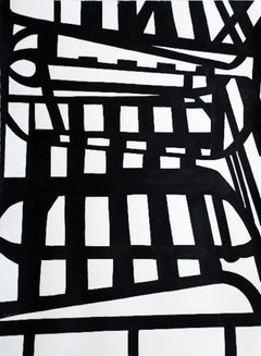 Large Chair 2, Black and white abstract lines on paper by Lisa Petker-Mintz