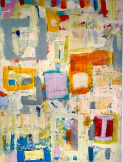April, bright mulitcolored abstract encaustic painting on board