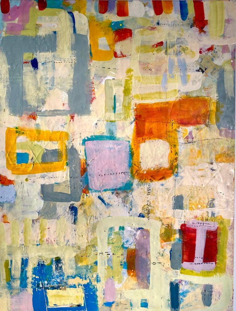Lisa Pressman Abstract Painting - April, bright mulitcolored abstract encaustic painting on board