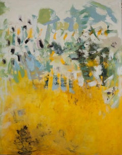 Darkest Days 1, yellow, blue and green abstract oil painting on board