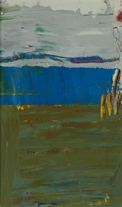 Day Series 19a, small oil painting on paper, blue and green