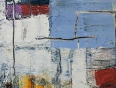 Day Series 41, small oil painting on paper, blue and white