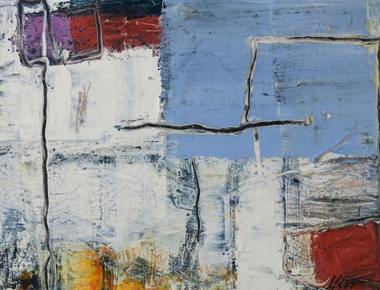 Lisa Pressman Abstract Painting - Day Series 41, small oil painting on paper, blue and white