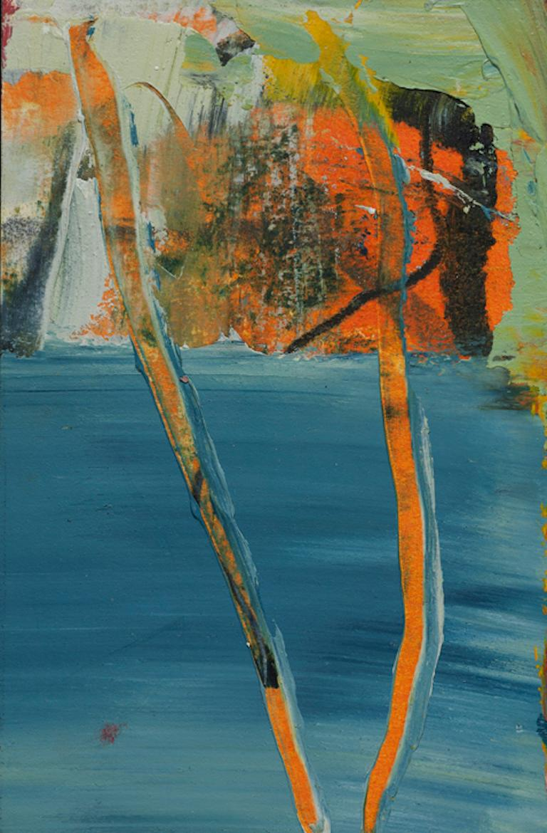 Lisa Pressman Abstract Drawing - Day Series 69, small oil painting on paper, blue and orange