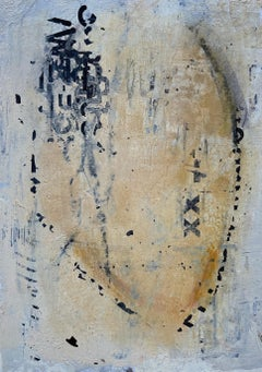 Messages #10, mixed media abstract painting on paper, neutral earth tones
