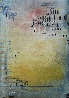 Messages #12, mixed media abstract painting on paper, neutral earth tones