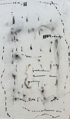 Messages #17, mixed media abstract painting on paper, neutral earth tones