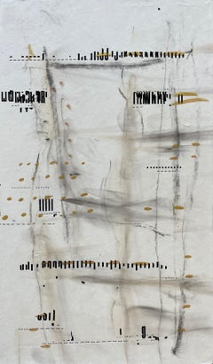 Messages #18, mixed media abstract painting on paper, neutral earth tones