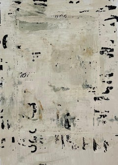 Messages #20, mixed media abstract painting on paper, neutral earth tones