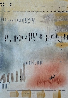 Messages #7, mixed media abstract painting on paper, neutral earth tones
