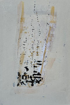 Messages #8, mixed media abstract painting on paper, neutral earth tones