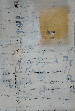 Messages #9, mixed media abstract painting on paper, neutral earth tones