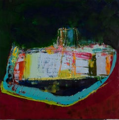 Moored, green and red encaustic work, 24 x 24 inches