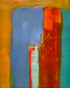 Navigation 1, bright multicolored abstract painting, encaustic on board