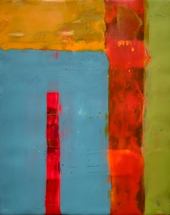 Navigation 10, bright red and blue abstract painting, encaustic on board