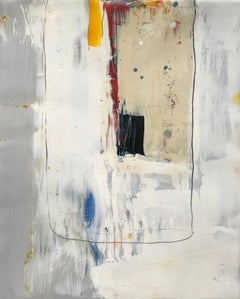 Navigation 17, white and neutral abstract encaustic painting on board