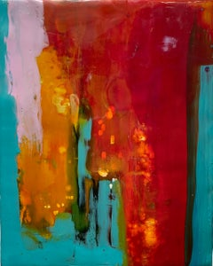 Navigation 3, bright red and blue abstract painting, encaustic on board