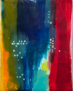 Navigation 4, bright multicolored abstract painting, encaustic on board