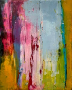 Navigation 5, bright multicolored abstract painting, encaustic on board