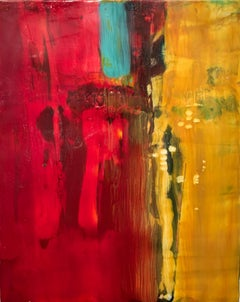 Navigation 6, bright red and yellow abstract painting, encaustic on board