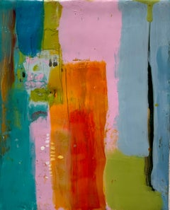 Navigation 7, bright multicolored abstract painting, encaustic on board