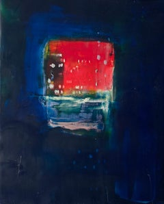 Navigation 8, abstract encaustic painting on board, navy and red