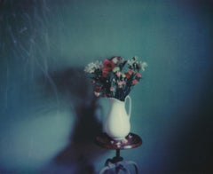 In Bloom - Contemporary, Woman, Polaroid, Painting, flowers