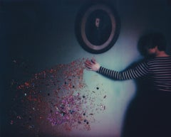 Self-Distancing - Contemporary, Woman, Polaroid, Painting, flowers