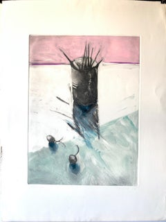 """1982 """"Cup of Brushes"""" Monotype Still Life Bay Area Artist"""