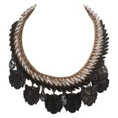 LisaC Black tigers swarovski stones necklace
