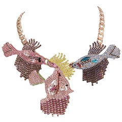 LisaC Fish multicoloured swarovski stones necklace