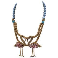 LisaC Flamingos light blue pearls neacklace