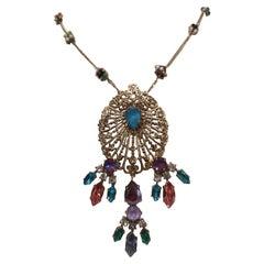 LisaC gold tone swarovski stones necklace